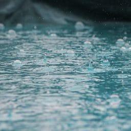 Rain falling into lake.